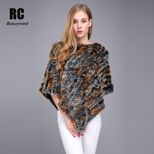 [Rancyword] Winter Warm Shawl Poncho For Women Knitted Real Rabbit Fur Shouder Pashmina Capes Lady Natural Wraps RC1257