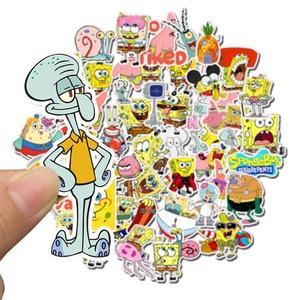 Image 3 - Наклейки SpongeBob для мотоцикла, ноутбука, чемодана, велосипеда, скейтборда, 50 шт./упак.