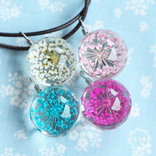 Fashion Multicolor Gypsophila Crystal Glass Ball Necklace Leather Chain Handmade Dried Lace Flower Pendant Long Necklaces Gift
