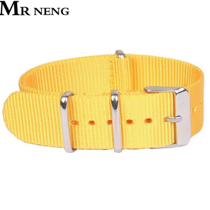 Pure Yellowe Color Nylon Watchstrap NATO Strap 18mm 20mm 22mm Canvas Replacement Man Watch Band