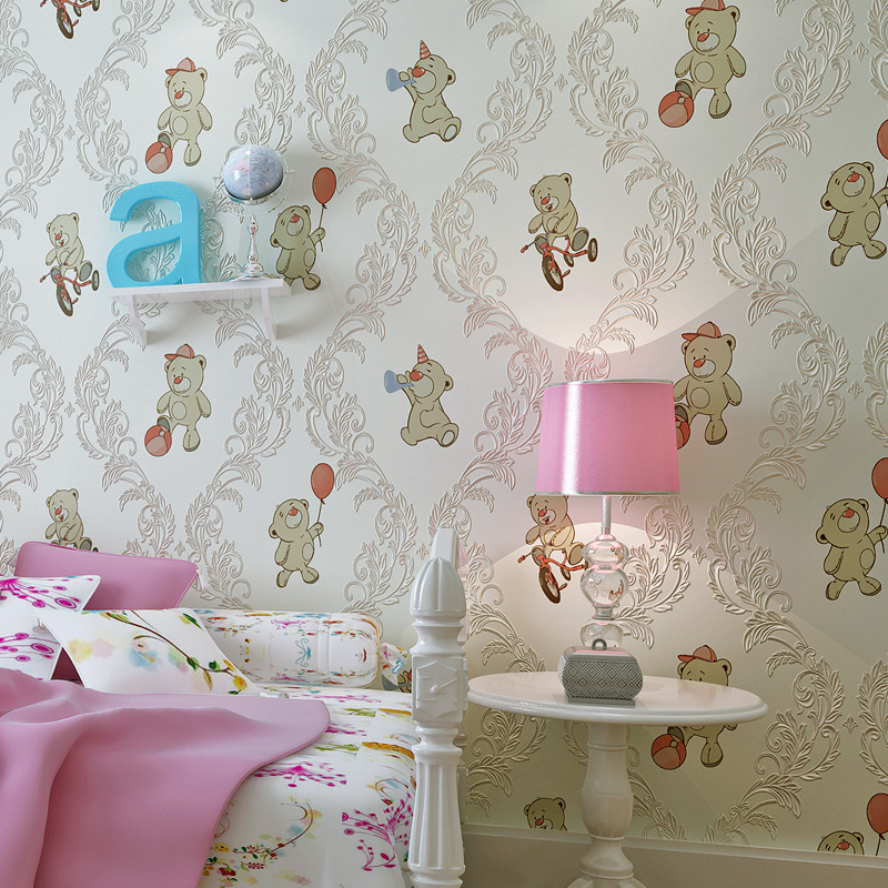 ФОТО Cartoon Wallpapers Damask Bear Wallcoverings Vintage decal for kids room wallpaper &Wall Paper papel de parede 10 Meter