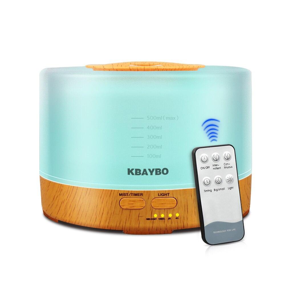 500 ml Fernbedienung Aroma Ätherisches Öl Diffusor Ultraschall-luftbefeuchter mit 4 Timer Einstellungen 7 Farbwechsel LED Lampe