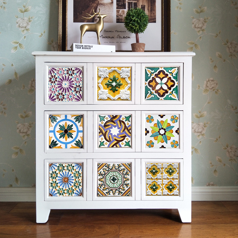 2018 Direct Selling Limited Thick Plus 10pcs Tile Furniture Stickers Oporto Pattern Decorative Home Removable Decor Diy Sticker