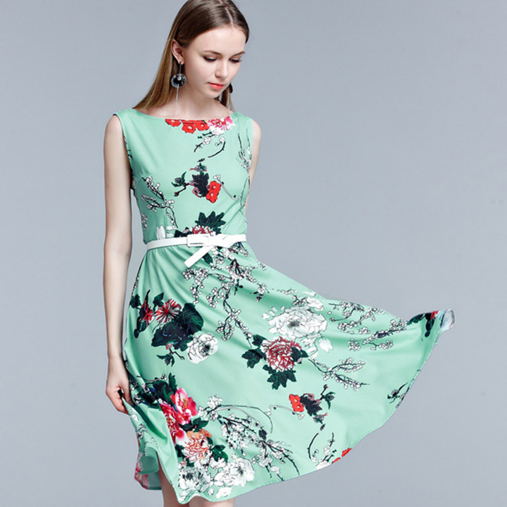 Women Floral Print O neck Sleeveless Boho Dress Knee Length Formal ...