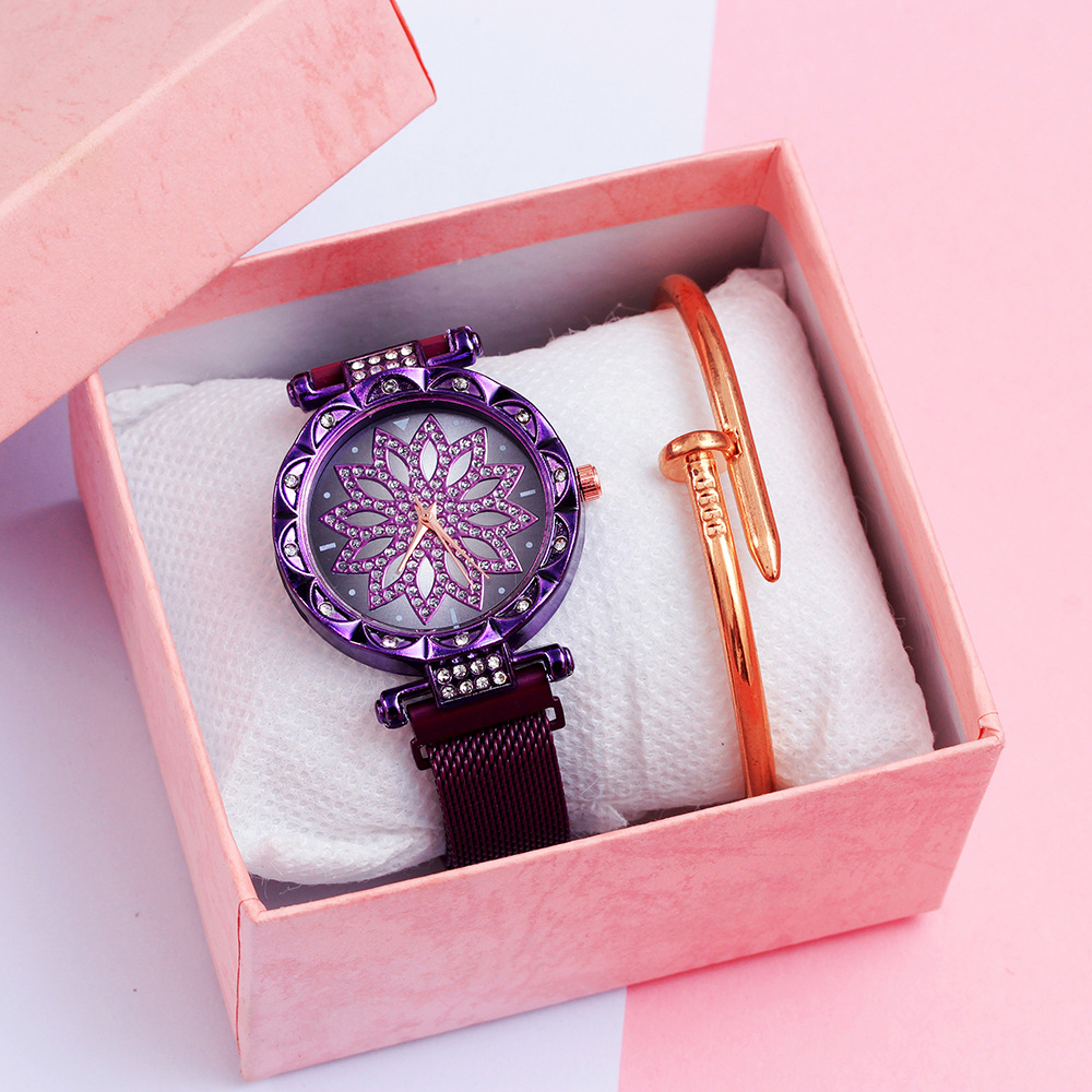 Women Magnet Watch Purple Lucky Flower Watch Luxury Diamond Female Clock Ladies Stainless Steel Quartz Watches Relogio Feminino