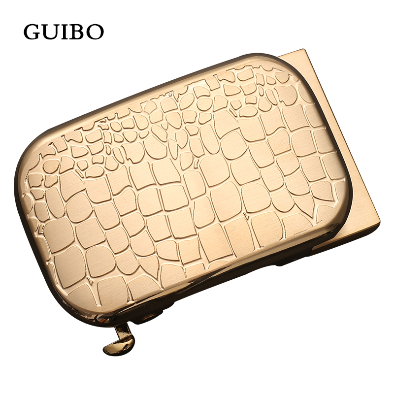 GUIBO Luxury Brand Men Solid Brass Copper Automatic Buckle Designer Men Leather Belt Waistband Jeans Accessories 3.5CM