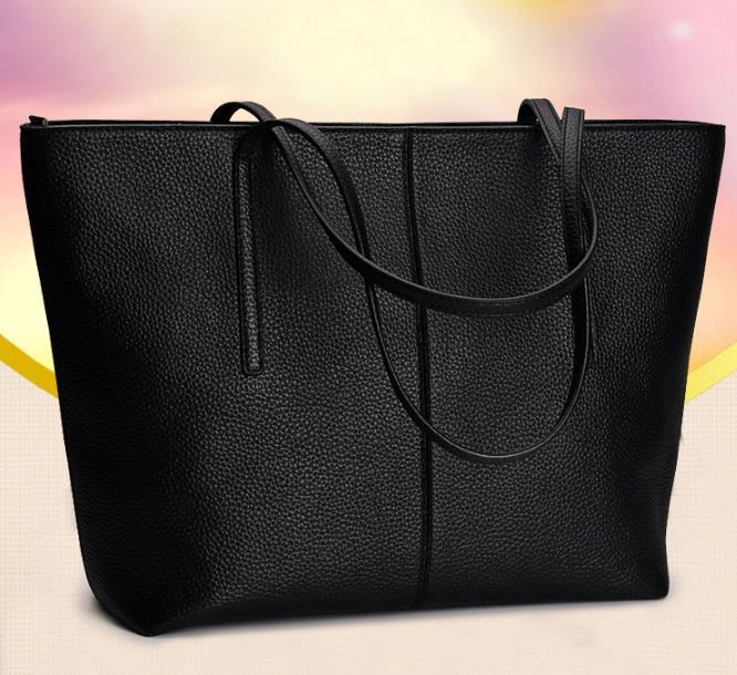 ONEFULL Women new leather black handbag fashion all-match large capacity