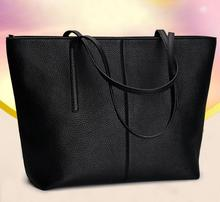 ONEFULL Women new leather black handbag fashion all-match large capacity