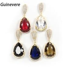 Guinevere Copper Golden Cubic Zirconia Trendy Drop Earrings Women Fashion Party Jewelry Cobre Brincos