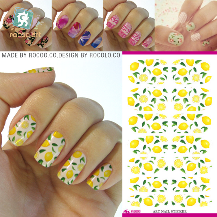 Rocooart K5693 Water Transfer Foil Nails Art Sticker Fresh Green Lemon Leaf Manicure Decor Decals Wraps Foil Sticker for Nail 2pcs new water transfer light gray white marble stone rock nail wraps sticker manicure decals nail foil sticker art sexy