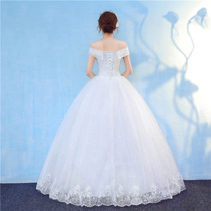 Image 4 - Nova chegada 2020 frete grátis vintage elegante rendas branco vestidos de casamento barco pescoço plus size vestido de baile robe de barato