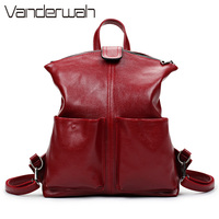 Women Backpack High Quality PU Leather Sac A Main School Bags For Teenagers Girls Top-Handle Large Capacity Student Package V003