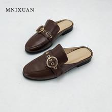 ab7fc7397 MNIXUAN sapatos mulas 2018 nova couro genuíno das mulheres apartamentos dedo  do pé redondo saltos sólidos