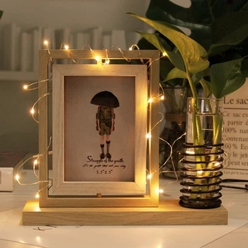 Creative double-sided photo frame 5 inch Nordic office desk water culture rotating table LED lights decorative photo frame