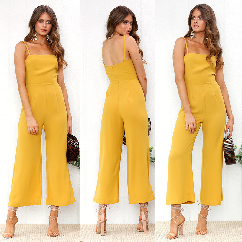 Wide Leg Rompers Women Jumpsuit Long Pant Sexy Spaghetti Strap Strapless Backless Solid 2018 Runway Designer Jumpsuits Women New