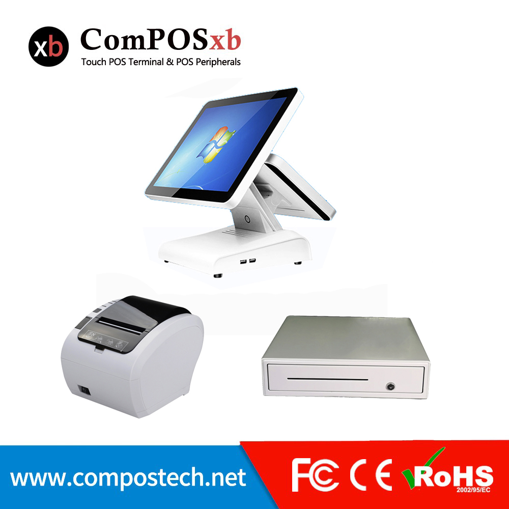 Cheap <font><b>Cashier</b></font> <font><b>Machine</b></font> cash Register <font><b>Machine</b></font> 15 Inch Touch All In One Pc With 80 mm Printer/cash drawer image