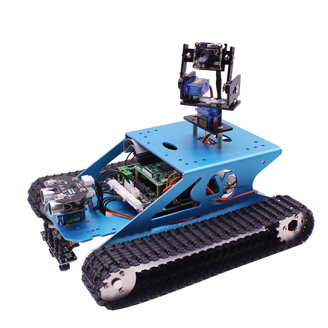 Raspberry Pi Tank Smart DIY Programming Robot Toy Kit WiFi Wireless Video Kids Toy Compatible RPI 3B/3B+(Without Raspberry Pi)