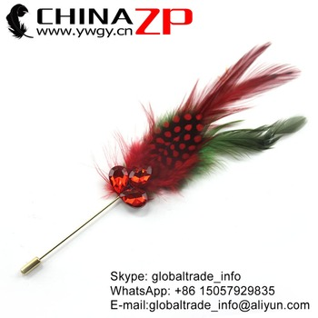 CHINAZP Factory Wholesale Price Good Quality Red Guinea with Green Chicken Saddle Hackle Feathers Brooch Pin Costume Docarations