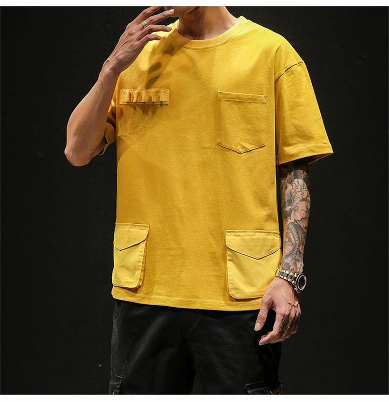 Hip Hop T-shirts Men With pockets Harajuku Oversized Tops Tee Japan Tshirt Streetwear Casual Solid High Street T Shirts Boy 39
