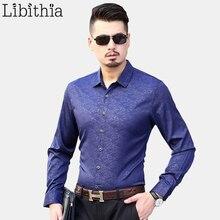 f115b4702 الرجال عارضة قمصان طويلة الأكمام الملابس الذكور مربع طوق الخريف جديد طباعة  بلوزة كبيرة الحجم M-7XL الأسود البنفسجي k340