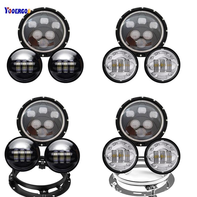 LED 7 Inch Headlight Hi/Lo Beam Lamp 60W +4.5 Inch 30W LED Fog Lamp Light+7'' Bracket Ring Motorcycle