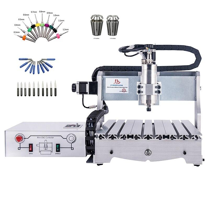 4 eixo CNC router 6040 eixo 800 W gravura máquina de perfuração de moagem de madeira ER11 collet chuck brocas cortadores de lâminas