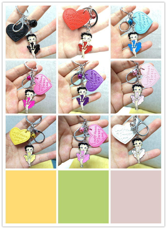 Free Shipping New 1pcs Cartoon Colorlove Heart Jingle Bells Betty Boop Charms Pendants Key Chain Keychains Party Toy Kids Gifts