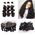 Malibu Dollface Recommend Pre Plucked Lace Frontal With Peruvian Virgin Hair Loose Wave 3pcs Hot Beauty Hair 4pcs/Lot