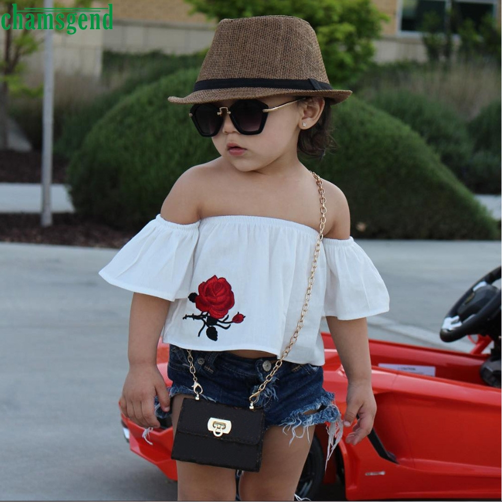 Kids Baby Girl Off Shoulder Flower T-Shirt Top Short Pants Outfits Clothes Set