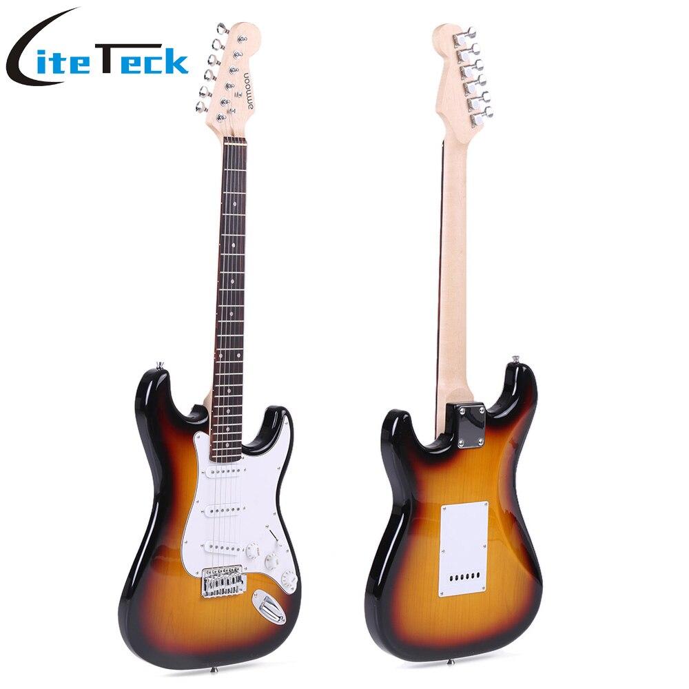 ammoon full size electric guitar set with joyo jt 306 digital clip on guitar tuner amplifier gig. Black Bedroom Furniture Sets. Home Design Ideas
