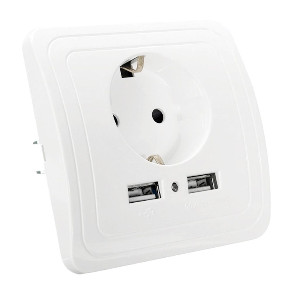 Presa con presa usb 5 V 2A e 5 V 1.5A Dual Presa a muro Porte Caricatore ue 16A 250 V cucina prese di corrente Elettrica presa