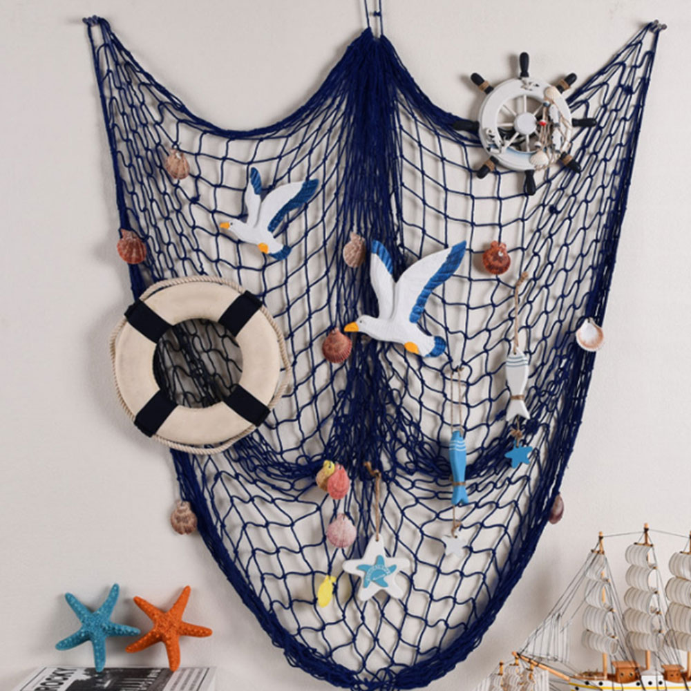 Blue Beige Mediterranean Marine Style Soft Decoration Fishnet Wall Decoration Bedroom Wall DecorationsBlue Beige Mediterranean Marine Style Soft Decoration Fishnet Wall Decoration Bedroom Wall Decorations