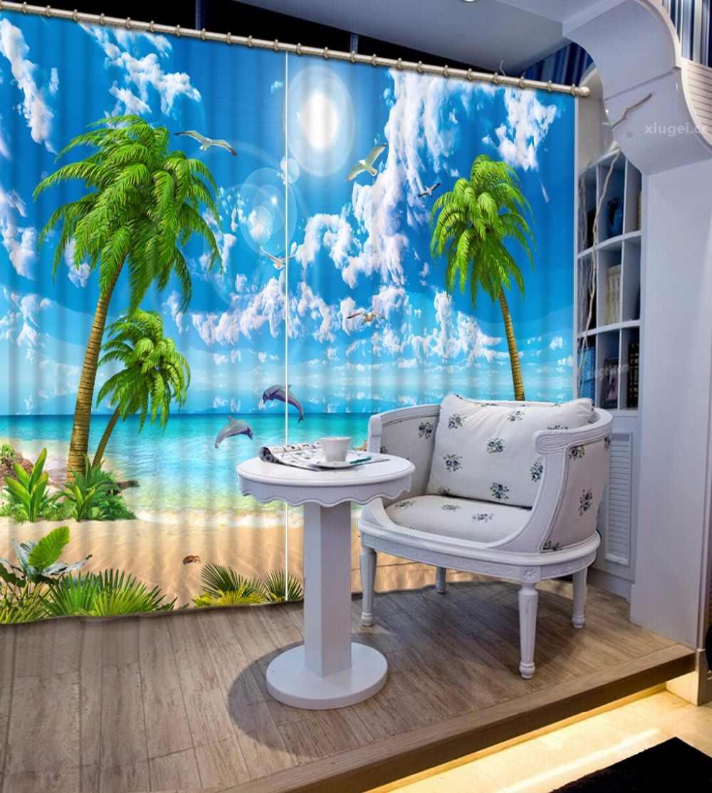 3dカーテン青空と白ココナッツの木のリビングルームの寝室のカーテン新しいカーテン