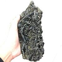 Natural Green Tourmaline Cluster Crystal Rough Stone Symbiotic Quartz Specimen Healing Fengshui Decoration