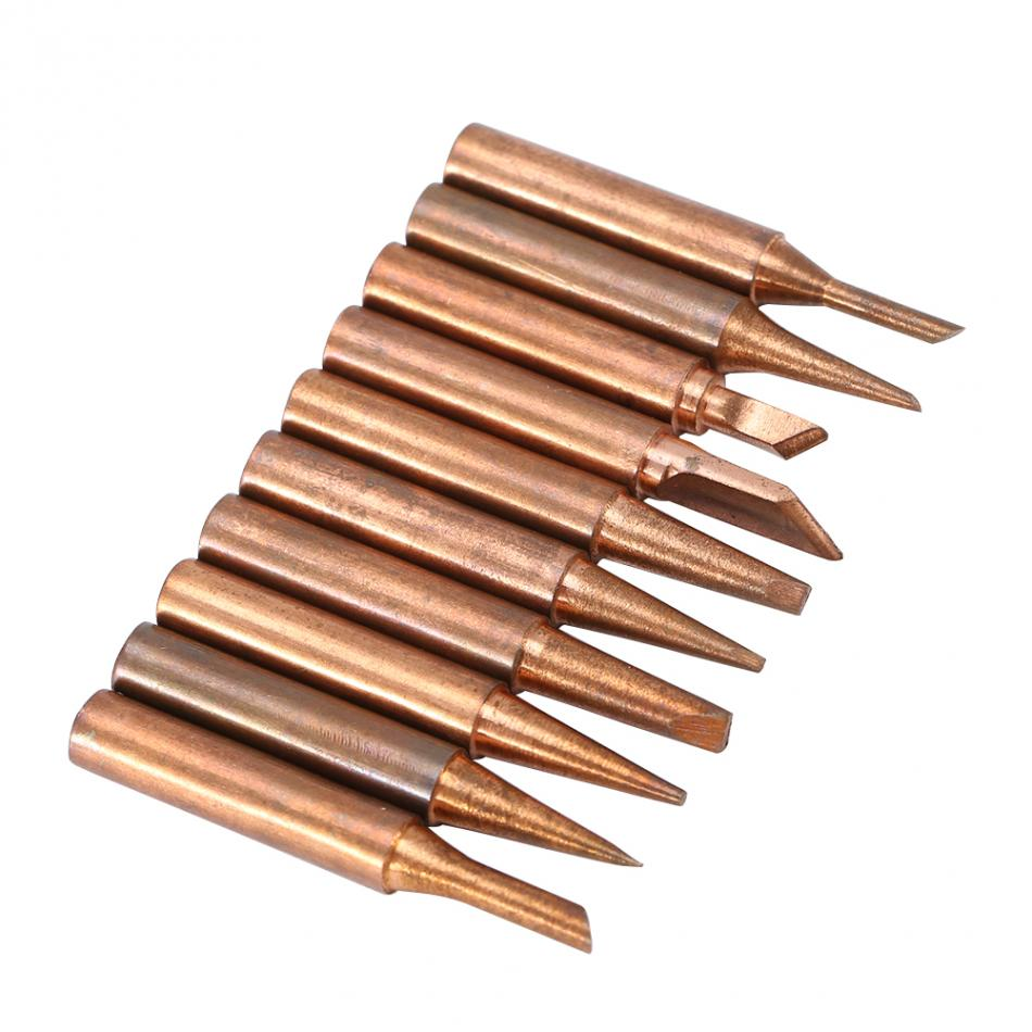 10pcs Lead-free Copper 900M-T Iron Solder Tip For 936,937,938,969,8586 Soldering Station ...