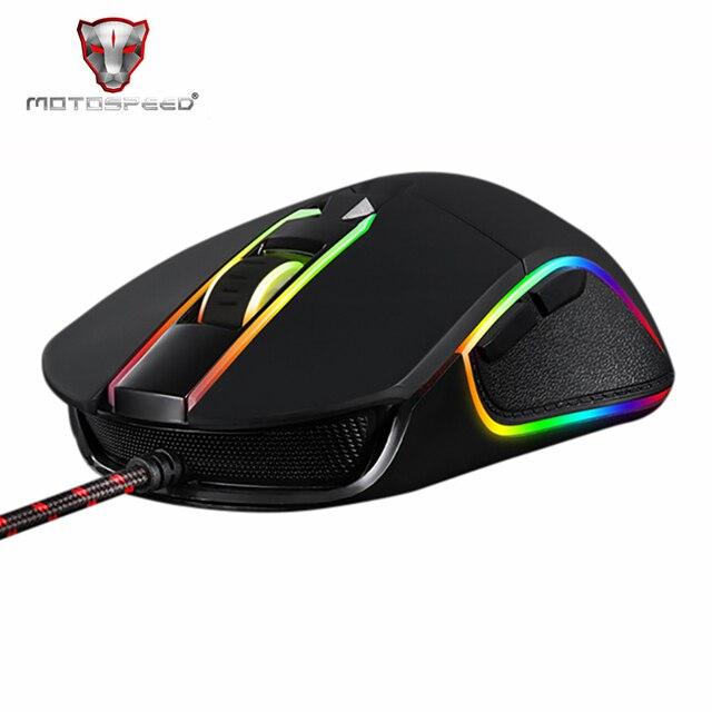 Motospeed V30 RGB תכנות 3500 DPI משחקי Gamer עכבר USB מחשב Wried אופטי עכברים הנשימה תאורה האחורית LED עבור מחשב משחק