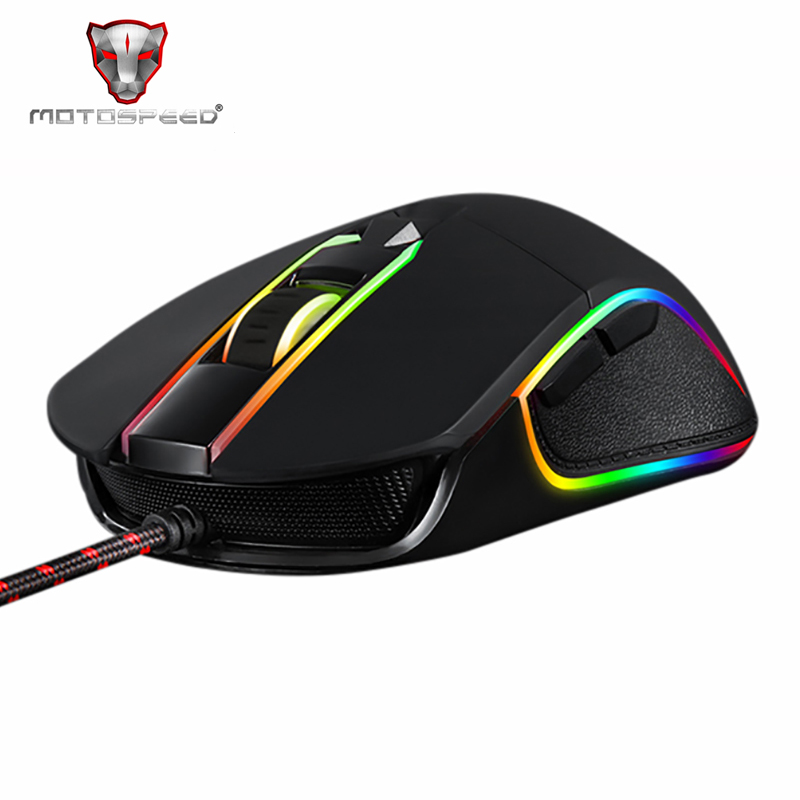 Motospeed V30 RGB Programming 3500 DPI Gaming Gamer Mouse USB Computer Wried Optical Mice Backlit Breathing LED for PC Game