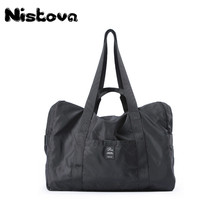 Solid Travel Duffle Foldable Gym Sports Bag Outdoor Totes Lightweight Shoulder Handbag Waterproof Nylon for Women Men