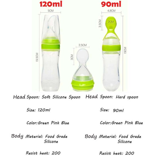 90/120ml Infant Baby Soft Silicone Food Supplement Toddler Rice Cereal Feeding Bottles Spoon Milk Food Storage Cup