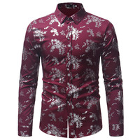 European Designer Printed Men's Shirts Long Sleeve Mens Dress Shirt Casual Flower Printed Shirts Men Brand Clothing 2019 A401