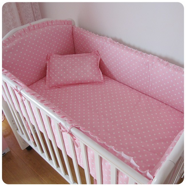 Promotion! 6PCS Pink Point baby bedding set with baby pillow, bed linen, crib bumpers (bumpers+sheet+pillow cover)