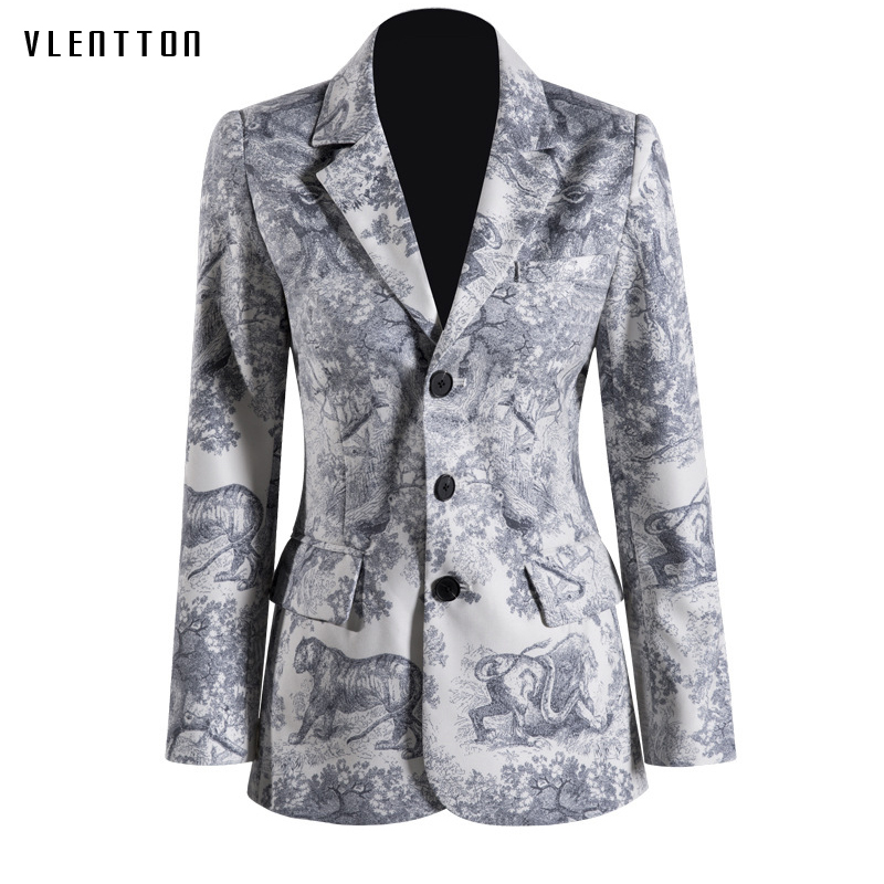 2019 New Vintage Women's Jacket And Blazer Long Sleeve Print Office Long Blazer Women Spring Autumn Single Breasted Women's Suit