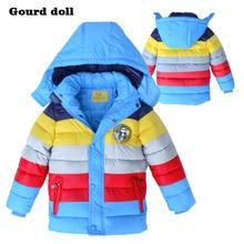 Мода полосы зима ткань Дети мальчики куртки Верхняя Одежда Пальто куртки для мальчика 4-8 Т Хлопка Рождество дети мальчики одежда