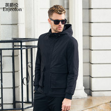 Enjeolon brand hoodies Bomber jackets coat men fashion black solid Mens jcaket 3XL coats hooded collar jacket caot JK0901(China)