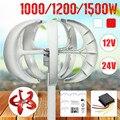 1500/1200/1000 W turbinas eólicas generador linterna 5 cuchillas Motor Kit 12/24 V eje Vertical para el hogar híbrido Streetlight + controlador