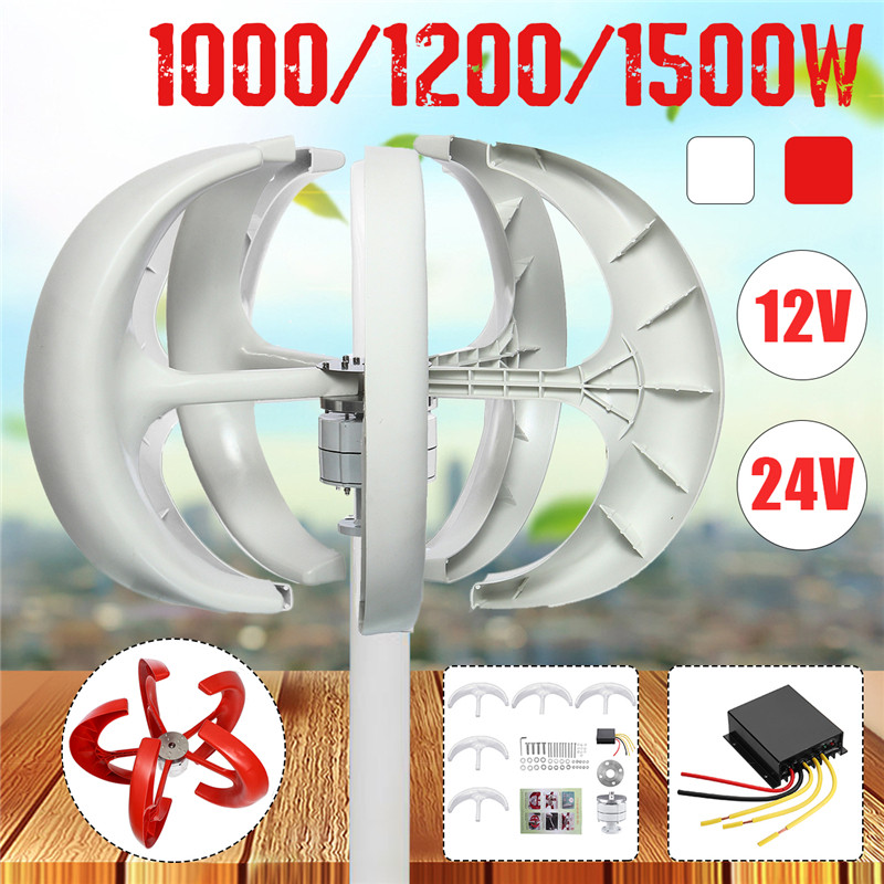 1500/1200/1000W Wind Turbines Generator Lantern 5 Blades Motor Kit 12/24V Vertical Axis For Home Hybrid Streetlight+Controller