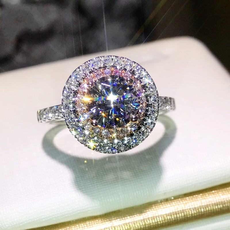 Frauen Fashion Echtes 925 Sterling silber Versprechen ring AAAAA Rosa Cz Engagement hochzeit band ringe für frauen Geschenk