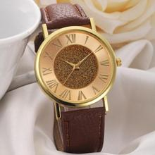 Quartz Wristwatches Fashion Women Glitter Dial Leather Band Analog Quartz Wrist Watch Watches310