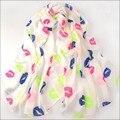 Mujeres bufanda beso amor 4 colores 70 * 160 cm nuevo diseño de la gasa de la bufanda / Super Sexy Lips impresa colorida señora larga bufanda