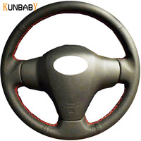 KUNBABY Car Styling Leather Car Steering Wheel Cover Case for Toyota Yaris Vios RAV4 2006 2009 Scion XB 2008 Car Accessories